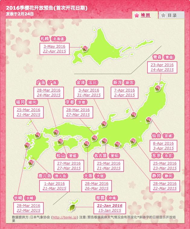 2016樱花开花日期